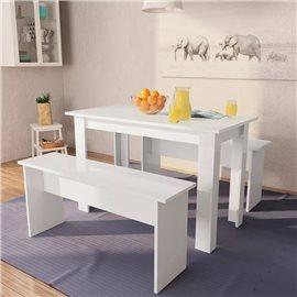Mesa de comedor y bancos 3 piezas madera aglomerada blanca