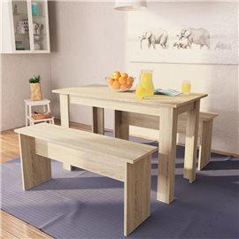 Mesa de comedor y bancos 3 piezas madera aglomerada color roble