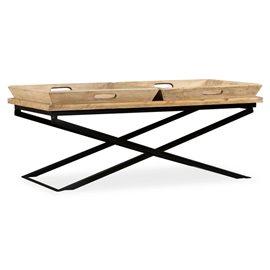 Mesa de centro de madera de mango maciza 110x55x42 cm