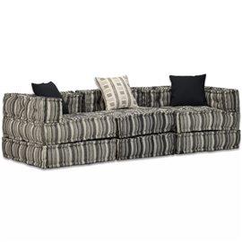 Sofá cama modular de 3 plazas de tela a rayas