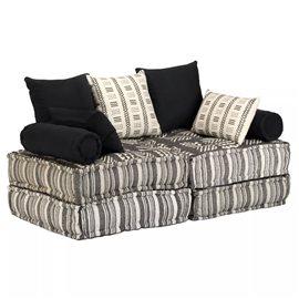 Sofá cama modular de 2 plazas de tela a rayas