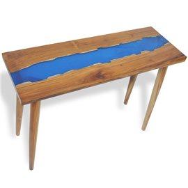 Mesa consola de teca y resina 100x35x75 cm