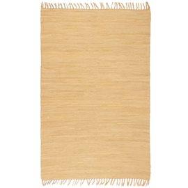 Alfombra tejida a mano Chindi de algodón beige 200x290 cm
