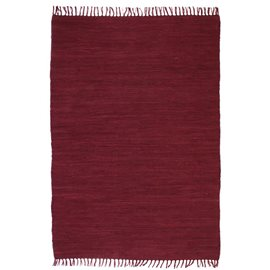 Alfombra tejida a mano Chindi de algodón burdeos 200x290 cm