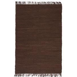 Alfombra tejida a mano Chindi de algodón marrón 200x290 cm