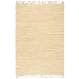 Alfombra tejida a mano Chindi de algodón crema 200x290 cm