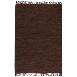 Alfombra tejida a mano Chindi cuero 190x280 cm marrón