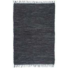 Alfombra tejida a mano Chindi cuero 190x280 cm gris