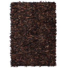 Alfombra shaggy peluda de cuero auténtico 190x280 cm marrón