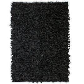 Alfombra shaggy peluda de cuero auténtico 160x230 cm negra