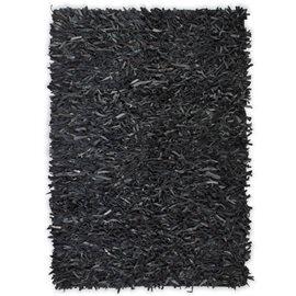 Alfombra shaggy peluda de cuero auténtico 190x280 cm gris