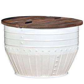Mesa de centro madera maciza reciclada blanca forma de barril