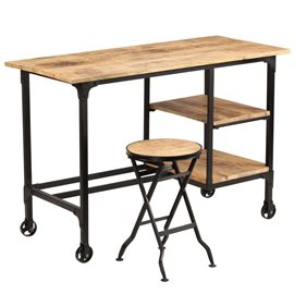 Escritorio y taburete plegable madera maciza mango 115x50x76