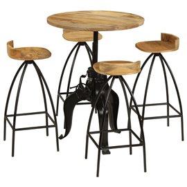 Juego de muebles de bar madera maciza mango 5 piezas