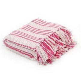 Manta a rayas 125x150 cm algodón rosa y blanco