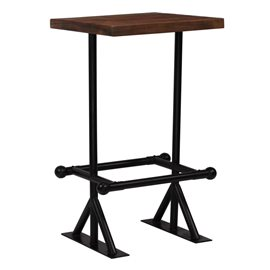 Mesa de bar madera maciza reciclada marrón oscuro 60x60x107 cm