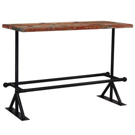 Mesa de bar de madera maciza reciclada multicolor 150x70x107 cm