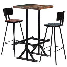 Muebles de bar 3 piezas madera maciza reciclada multicolor