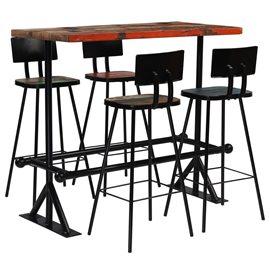 Muebles de bar 5 piezas madera maciza reciclada multicolor
