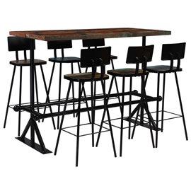 Muebles de bar 7 piezas madera maciza reciclada multicolor