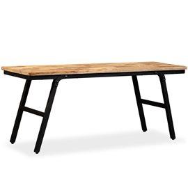 Banco de madera de teca reciclada y acero 110x35x45 cm