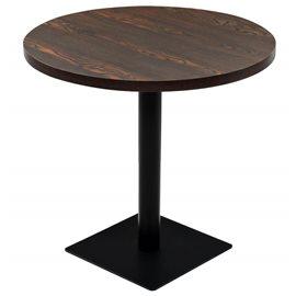 Mesa de bar bistró MDF y acero redonda fresno oscuro 80x75 cm