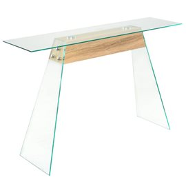 Mesa consola de MDF y vidrio color roble 120x30x76 cm