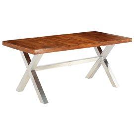 Mesa de comedor madera maciza acabado de sheesham 180x90x76 cm