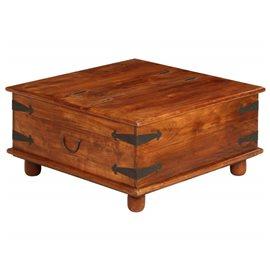 Mesa de centro de madera maciza acabado de sheesham 80x80x40 cm