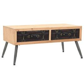 Mesa de centro de madera maciza de abeto 115x55x50 cm