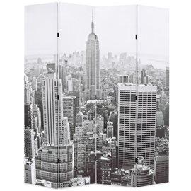 Biombo divisor plegable 160x170 cm Nueva York blanco y negro
