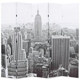 Biombo divisor plegable 200x170 cm Nueva York blanco y negro