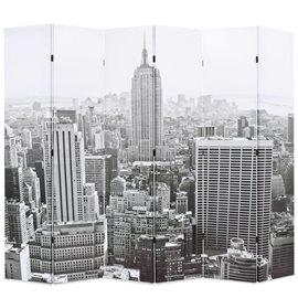 Biombo divisor plegable 228x170 cm Nueva York blanco y negro