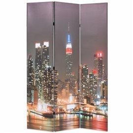 Biombo divisor plegable 120x170 cm Nueva York de noche