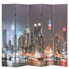Biombo divisor plegable 200x170 cm Nueva York de noche