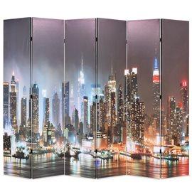 Biombo divisor plegable 228x170 cm Nueva York de noche