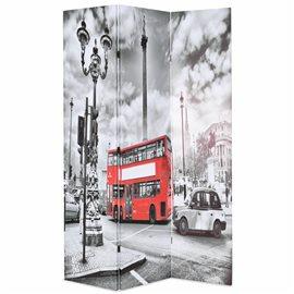 Biombo divisor plegable 120x170 cm bus Londres blanco y negro