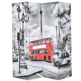 Biombo divisor plegable 160x170 cm bus Londres blanco y negro