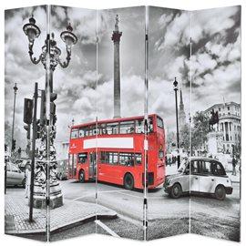 Biombo divisor plegable 200x170 cm bus Londres blanco y negro