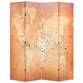 Biombo divisor plegable 160x170 cm mapamundi amarillo