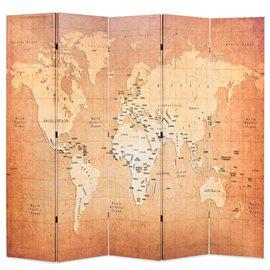 Biombo divisor plegable 200x170 cm mapamundi amarillo