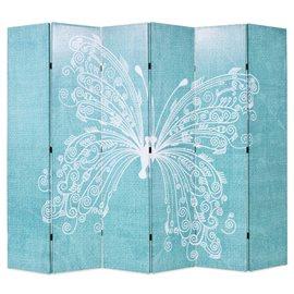 Biombo divisor plegable 228x170 cm mariposa azul