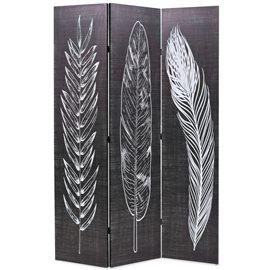 Biombo divisor plegable 120x170 cm plumas blanco y negro