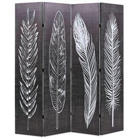 Biombo divisor plegable 160x170 cm plumas blanco y negro