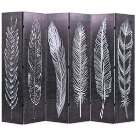 Biombo divisor plegable 228x170 cm plumas blanco y negro