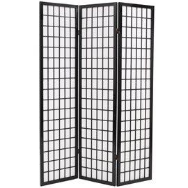 Biombo plegable con 3 paneles estilo japonés 120x170 cm negro