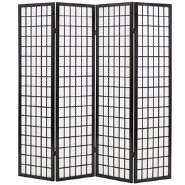 Biombo plegable con 4 paneles estilo japonés 160x170 cm negro