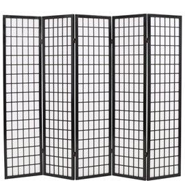 Biombo plegable con 5 paneles estilo japonés 200x170 cm negro