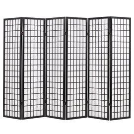 Biombo plegable con 6 paneles estilo japonés 240x170 cm negro