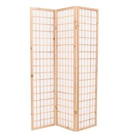 Biombo plegable 3 paneles estilo japonés 120x170 cm natural
